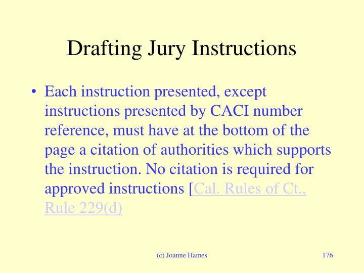 Drafting Jury Instructions