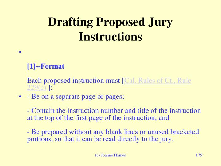 Drafting Proposed Jury Instructions