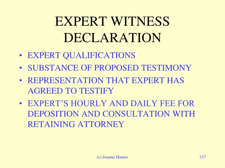 EXPERT WITNESS DECLARATION