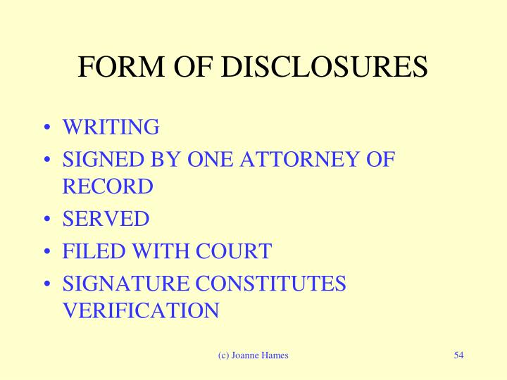 FORM OF DISCLOSURES
