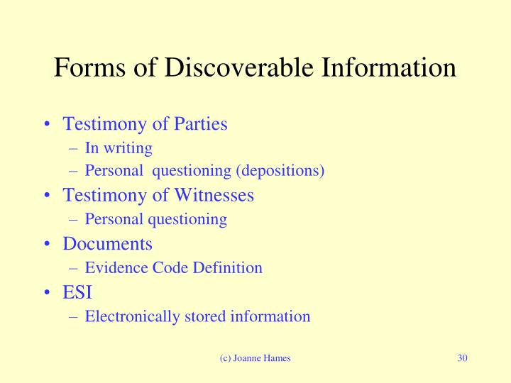 Forms of Discoverable Information