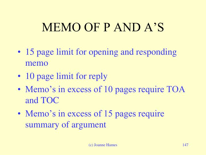 MEMO OF P AND A'S