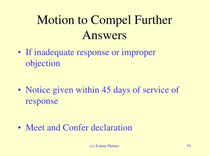 Motion to Compel Further Answers