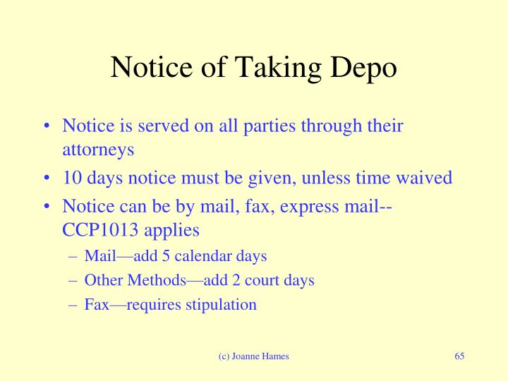Notice of Taking Depo