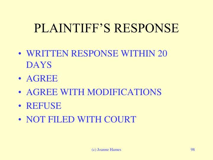 PLAINTIFF'S RESPONSE