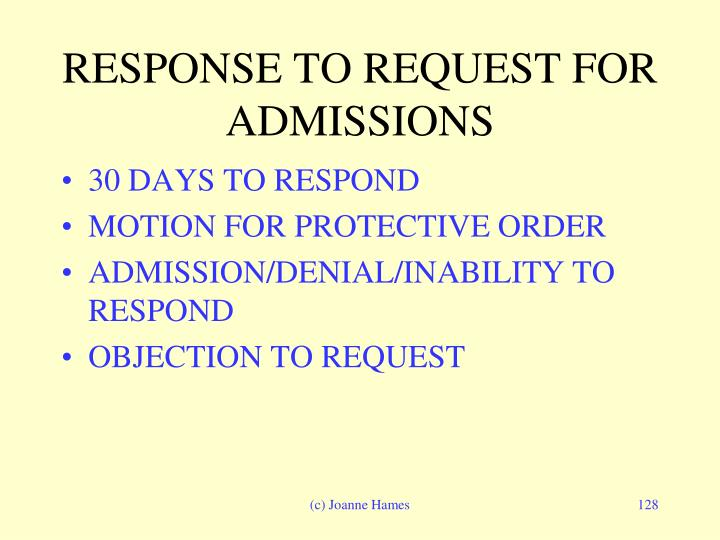 RESPONSE TO REQUEST FOR ADMISSIONS