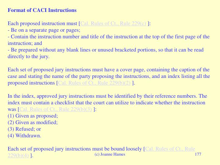 Format of CACI Instructions