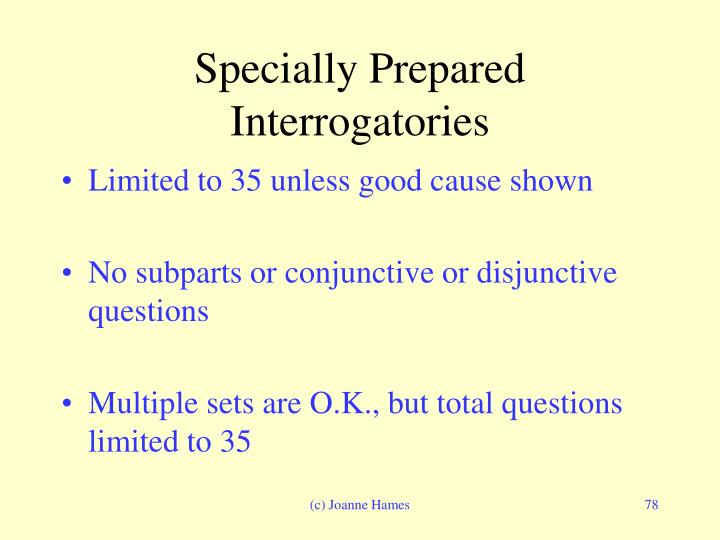 Specially Prepared Interrogatories
