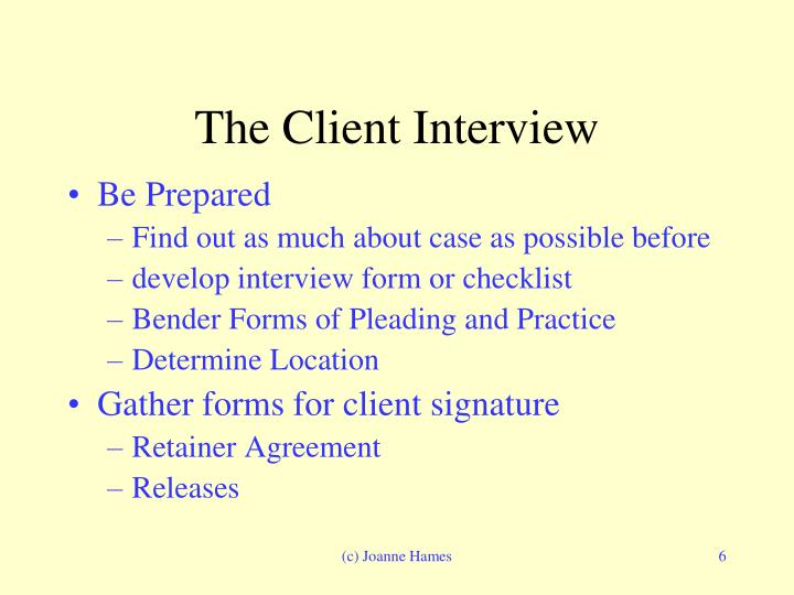 The Client Interview