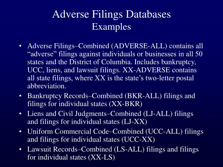 Adverse Filings Databases