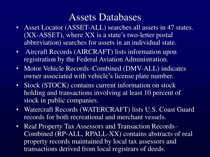 Assets Databases