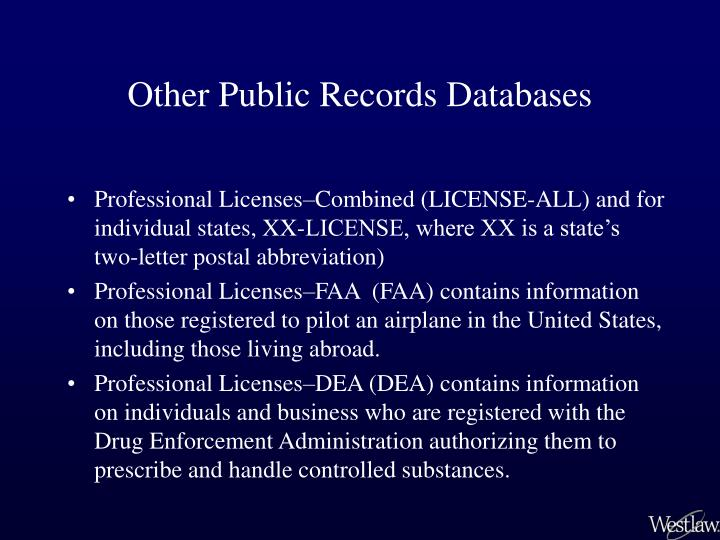 Other Public Records Databases