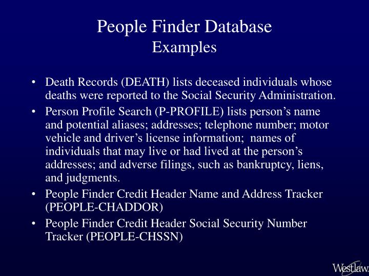 People Finder Database