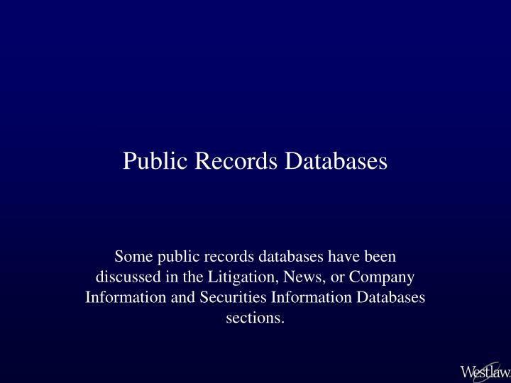 Public records databases