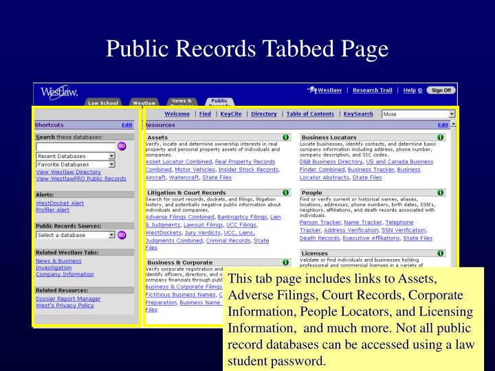 Public records tabbed page