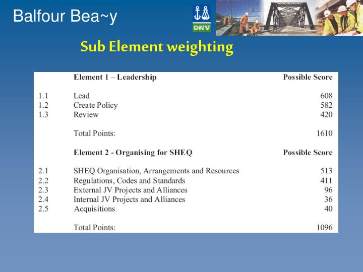 Sub Element weighting