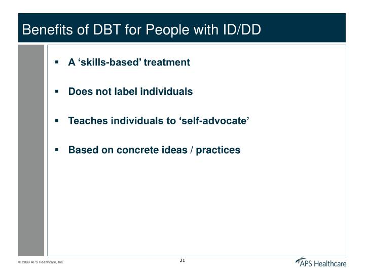 Benefits of DBT for People with ID/DD