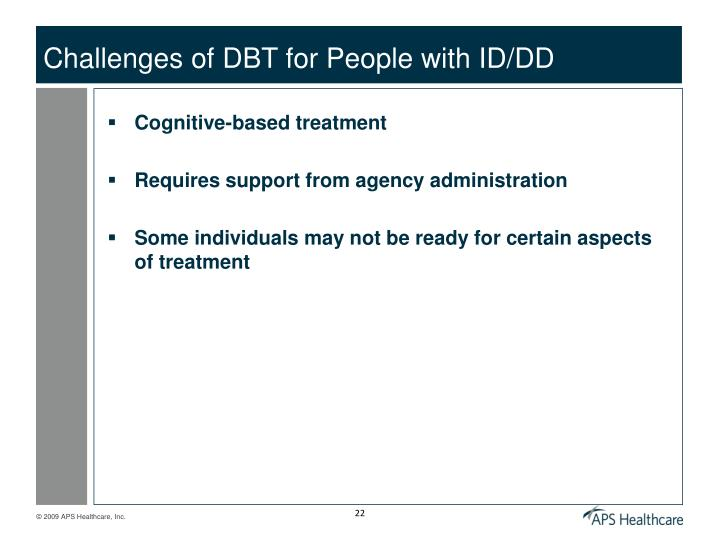 Challenges of DBT for People with ID/DD