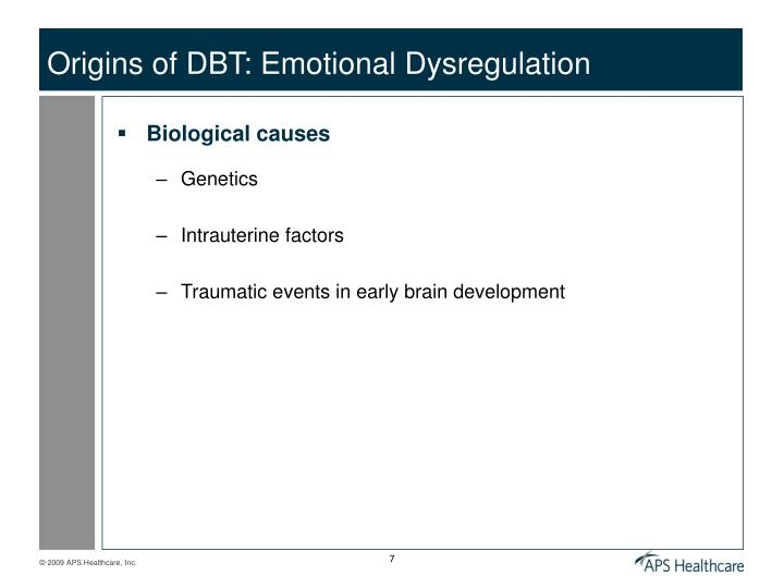 Origins of DBT: Emotional Dysregulation
