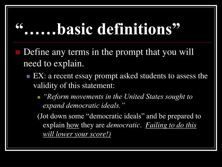 """……basic definitions"""