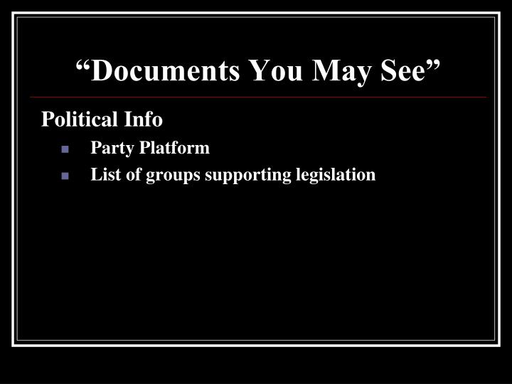 """""""Documents You May See"""""""