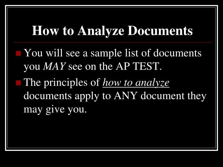 How to Analyze Documents