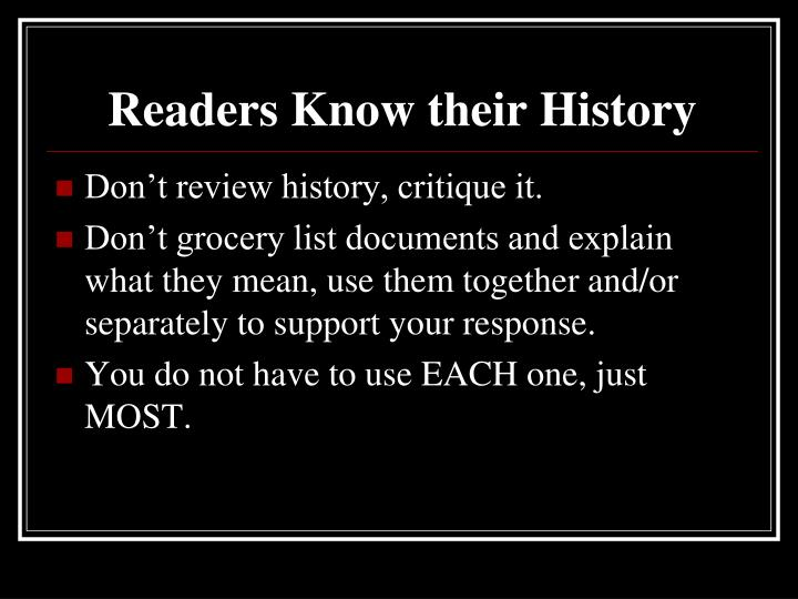 Readers Know their History