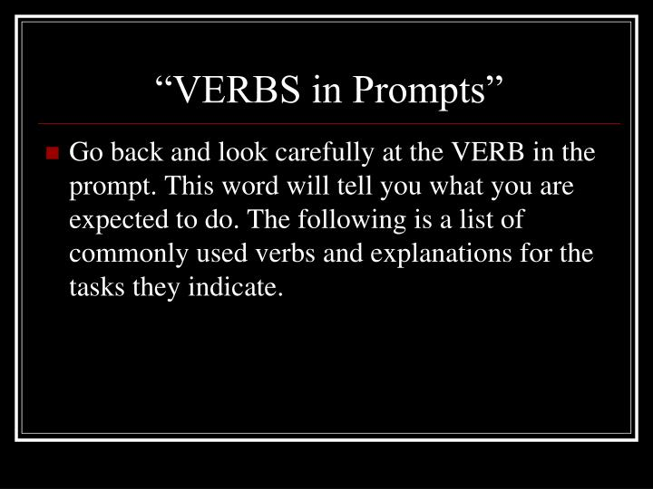 """""""VERBS in Prompts"""""""