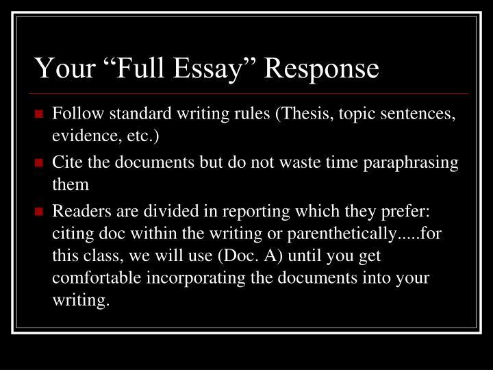 "Your ""Full Essay"" Response"