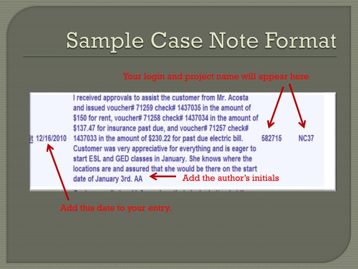 Sample Case Note Format
