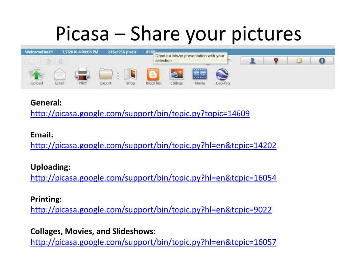 Picasa – Share your pictures