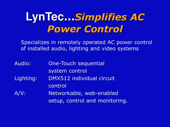 Lyntec simplifies ac power control