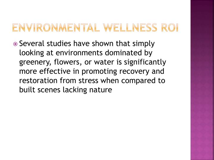 Environmental Wellness ROI