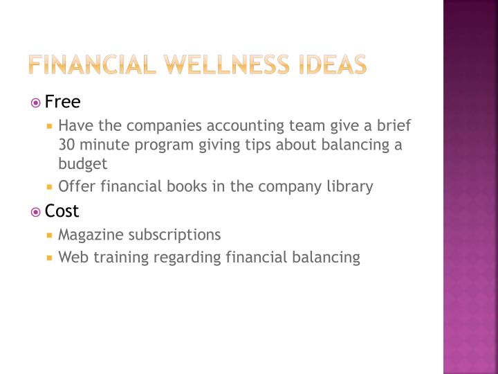 Financial wellness Ideas