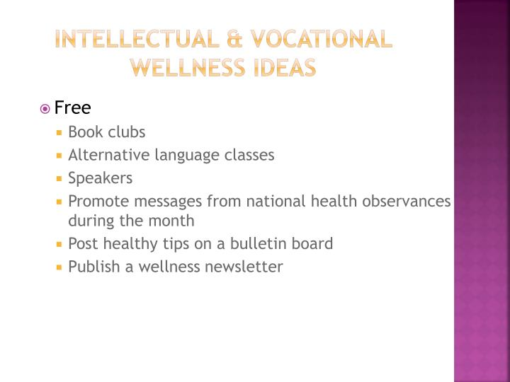 Intellectual & Vocational wellness Ideas
