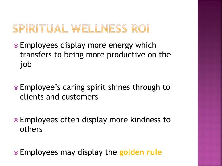 Spiritual Wellness ROI