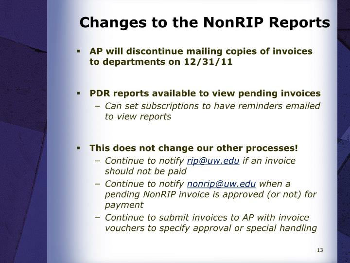 Changes to the NonRIP