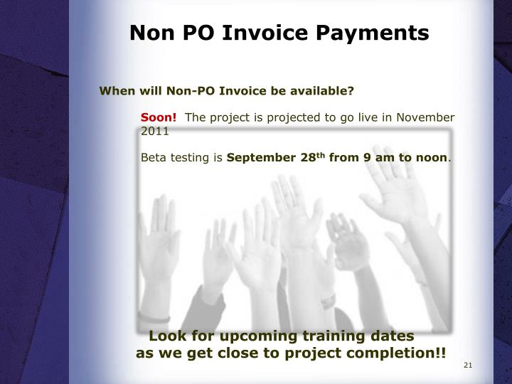 Non PO Invoice Payments
