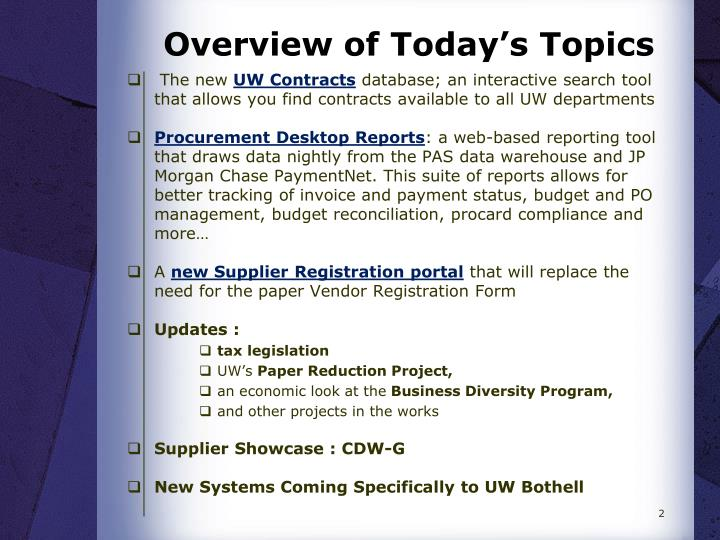 Overview of today s topics