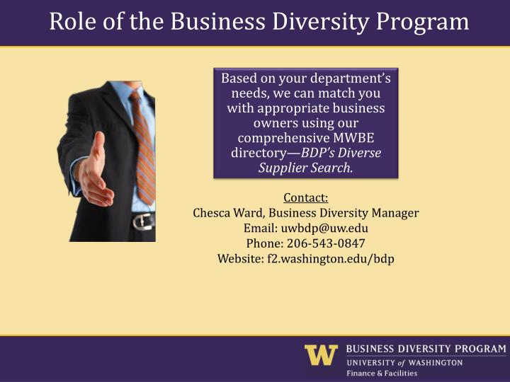 Role of the Business Diversity Program