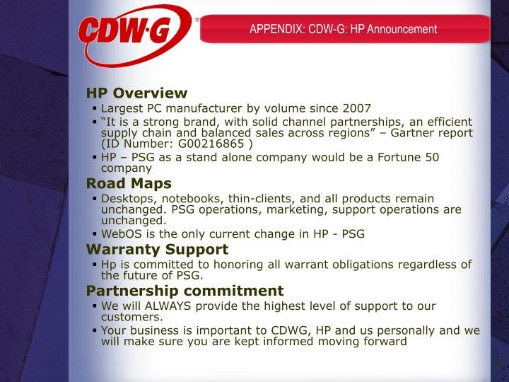 APPENDIX: CDW-G: HP Announcement