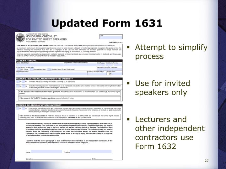Updated Form 1631