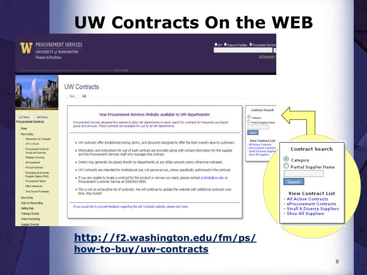 UW Contracts On the WEB