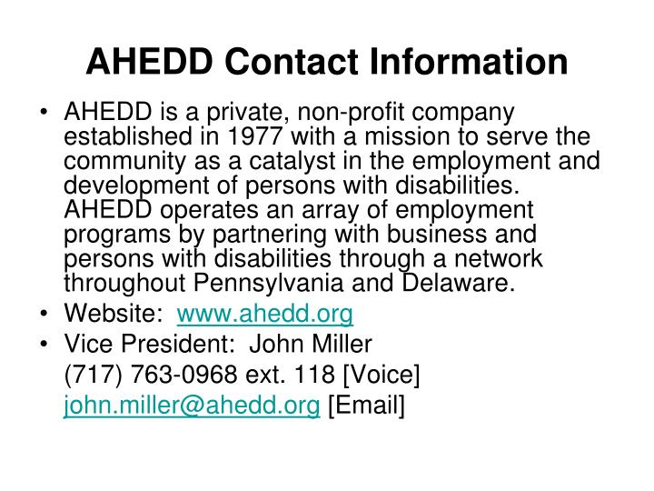 AHEDD Contact Information