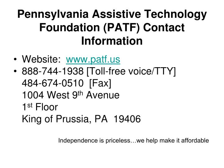 Pennsylvania Assistive Technology Foundation (PATF) Contact Information