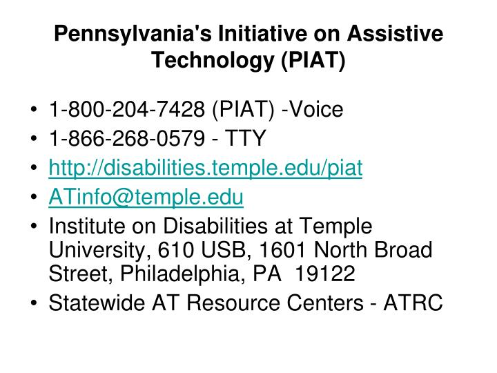 Pennsylvania's Initiative on Assistive Technology (PIAT)
