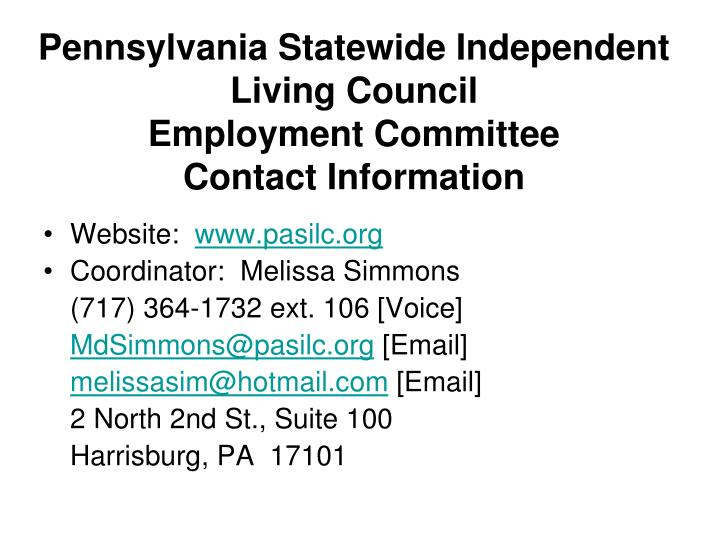 Pennsylvania Statewide Independent Living Council