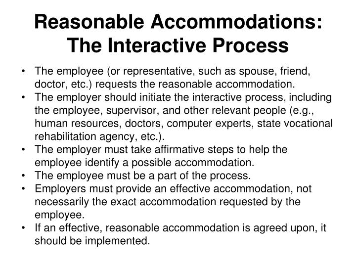 Reasonable Accommodations: