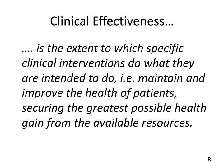 Clinical effectiveness