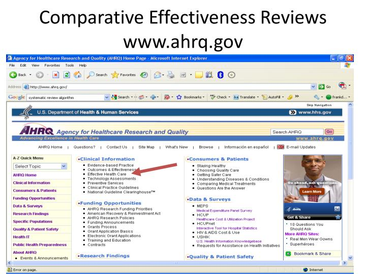 Comparative Effectiveness Reviews